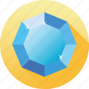 blue, diamond, gemstone, jewelry, luxury, octagon, saphire icon