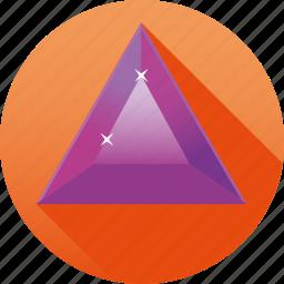 amethyst, diamond, gemstone, jewelry, luxury, purple, triangle icon