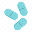 capsules, chemistry, medical, medication, pharmaceutical, three pills icon