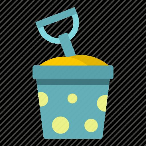 beach, bucket, play, sand, shovel, summer, toy icon