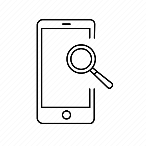 analysis, browser, phone, research, search, zoom icon