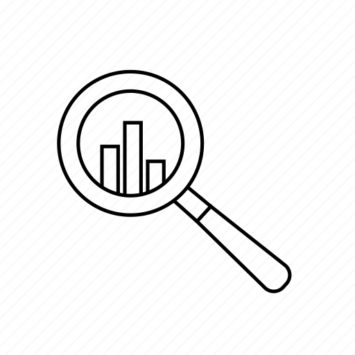 analysis, data, magnifyer, magnifying glass, reporting icon