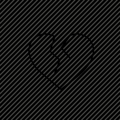 broken, broken heart, heart, heart broken icon