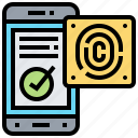 access, confirmation, fingerprint, identification, privacy icon