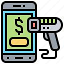 mobile, payment, purchase, scanner, smartphone icon