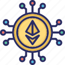 ethereum, alternative currency, cryptocurrency, digital currency icon