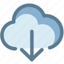 arrow, cloud, cloud download, data, download, storage icon