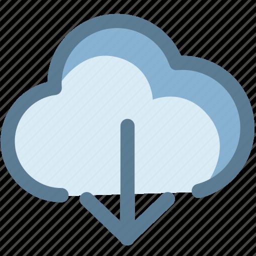 arrow, cloud, cloud download, data, download, storage icon