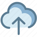arrow up, cloud, cloud upload, data, storage icon