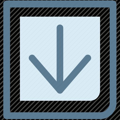 arrow, down, move, next, point icon