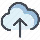 arrow up, cloud, cloud upload, data, device, storage, web icon