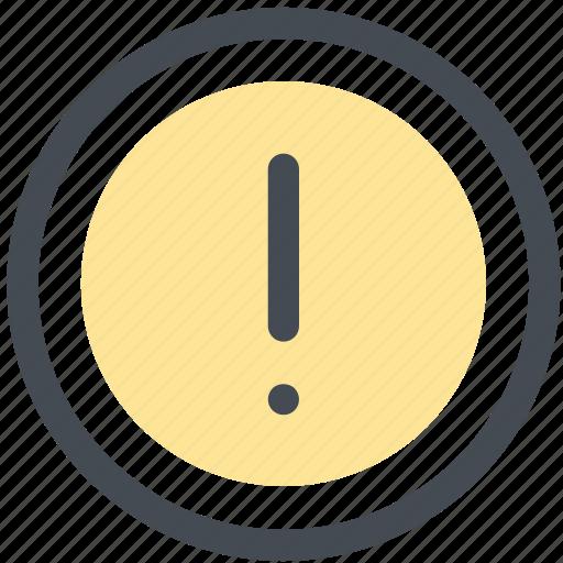 alert, caution, circle, exclamation mark, reminder, warning icon