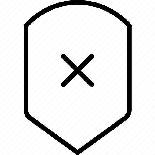 protection, rejected, security, shield, unavailable, unprotected icon