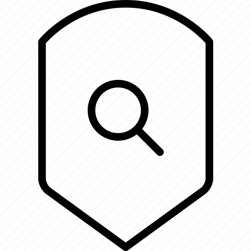find, protection, scan, search, security, shield icon