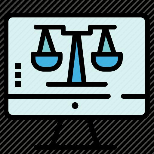 computer, digital, law, online, screen, tecnology icon