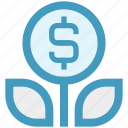 coin, dollar, flower, grow, marketing, plant icon