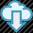 arrow, cloud, cloud computing, digital marketing, down, downloading