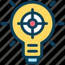 digital, marketing, bulb, idea, light, target, focus