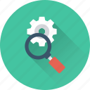 cogwheel, magnifier, magnifying, search settings, settings icon