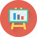 analysis, bar graph, graph presentation, presentation, whiteboard icon