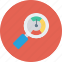 analyzer, magnifier, optimization, performance, seo icon