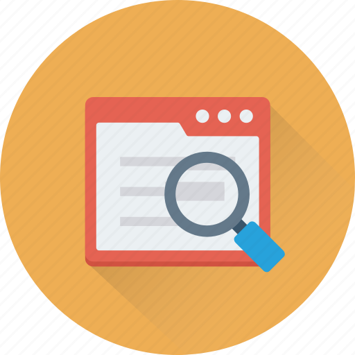 article, magnifying, search article, tab, web icon