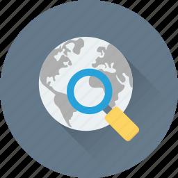 browser, globe, magnifier, search, search location icon