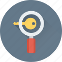 key, keywording, magnifier, search keyword, seo icon