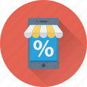 discount offer, m commerce, mobile shopping, online shopping, percentage icon
