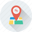 gps, navigation, offer, shop location, shop map icon