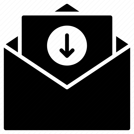 arrow, download, email, inbox, message icon