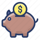 cash bank, money bank, money box, penny bank, piggy bank, piggy money bank icon
