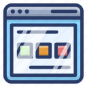 web content, web design, web interface, web page, website layout icon