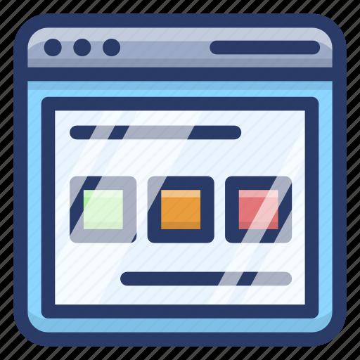 web content, web design, web interface, web page, website layout icon