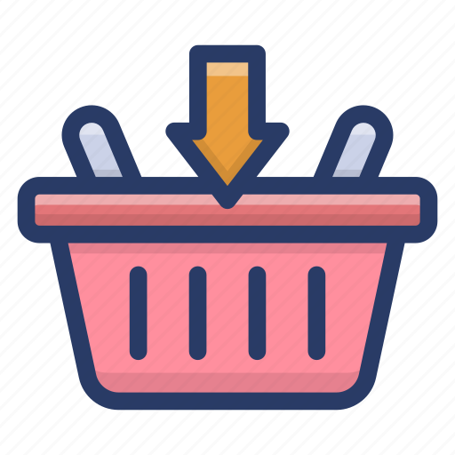 add to basket, hamper, picnic basket, shopping basket, shopping bucket icon