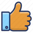 communication, feedback, like, positive response, social media like, thumbs up icon