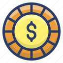 asset, coin, dollar coin, gold coin, money icon