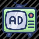 broadcast, retro screen, retro television ad, television, tv, vintage tv icon