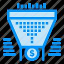 data, dollar, filter, funnel, money icon