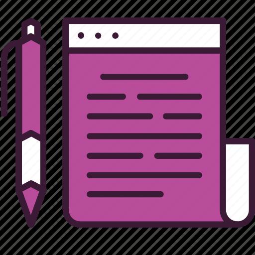article, blog, blogging, internet, page, pen, web icon