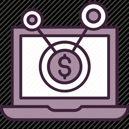 computer, content, marketing, money, network, send, share icon