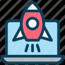 digital, marketing, laptop, launch, startup, rocket