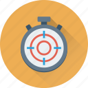 aim, dartboard, deadline, stop watch, stopwatch, target, timer icon