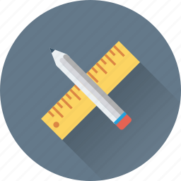 art, draft tools, drawing, pencil, scale icon