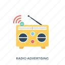 communication advertising, media marketing, on air advertising, radio ad, radio advertising icon