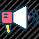 digital, marketing, megaphone, announcement, speaker, promote