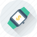 business, dollar, finance, watch, wristwatch icon