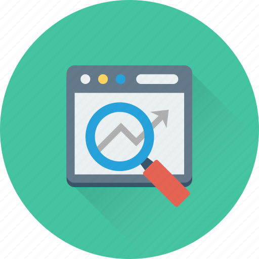 analysis, analytics, graph, magnifier, research icon