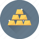 gold bricks, reserve, wealth, gold, gold ingots icon