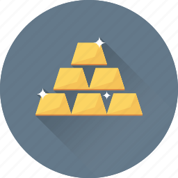 gold, gold bricks, gold ingots, reserve, wealth icon
